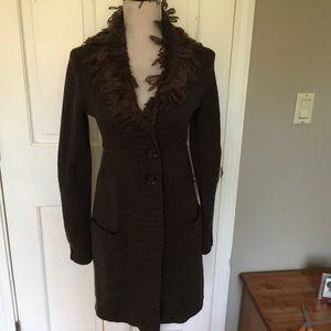 Biden NWT brown boho 100% wool sweater